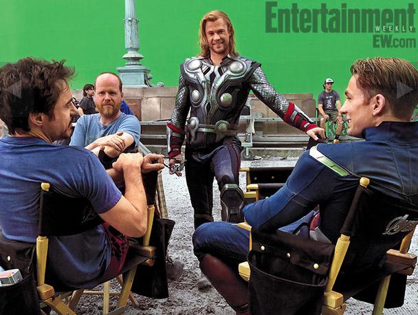 Chris Hemsworth, Chris Evans, Robert Downey Jr and director Joss Whedon on set
